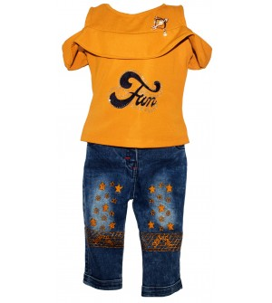 Ping Pong Collection Kids Girl's Mustard Coloured Fun Dresses With Jeans