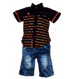 Nissan Boys Black Printed Shirt With Jeans Shorts