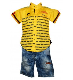 Nissan Boys Yellow Printed Shirt  With Jeans Shorts