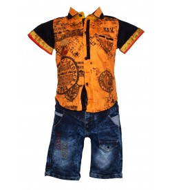 Nissan Boys Sandal,Black Printed Shirt  With Jeans Shorts