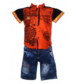 Nissan Boys Orange,Black Printed Shirt With Jeans Shorts
