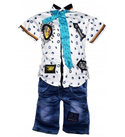 Nissan Boys White Printed Shirt With Jeans Shorts