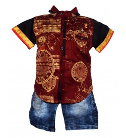 Nissan Boys Maroon,Black Printed Shirt With Jeans Shorts