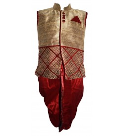 Funny Boy Gold,Red Colour Kurta With Dhoti Pants For Boys