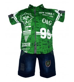 Twins Boys Green Printed Shirt With Jeans Shorts For Kids Boys