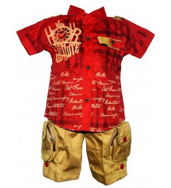 Twins Boys Red Printed Shirt With Sandal Shorts For Kids Boys