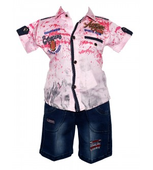 Twins Boys Pink,Blue Printed Shirt With Jeans Shorts For Kids Boys