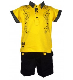 Twins Boys Yellow,Black Printed T-Shirt With Shorts For Kids Boys