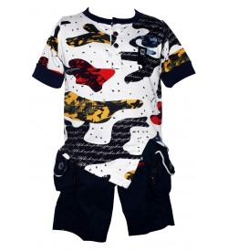 Lego Kids Wear White Printed T-Shirt With Shorts For Kids Boys