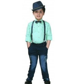 Ten Twenty Kids Fashion Green Coloured Shirt  Jeans Trouser With Cap For Boy's - 2599