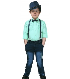 Ten Twenty Kids Fashion Green Coloured Shirt  Jeans Trouser With Cap For Boy's - 2599