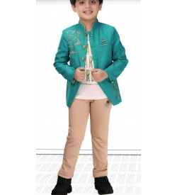 Ten Twenty  Green Coloured Partywear Coat Tshirt With Trousers For Kids Boys