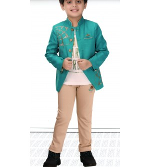Ten Twenty  Green Coloured Partywear Coat Tshirt With Trousers For Kids Boys