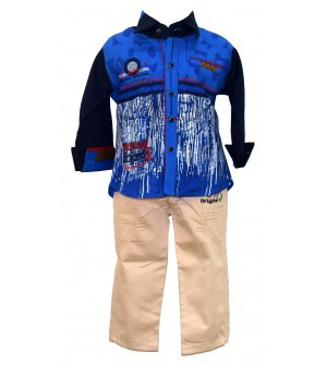 JM Fashion Royal Blue Coloured Clothing Set Shirt With Trousers For Kids Boys