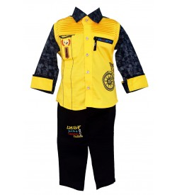 JM Fashion Royal Yellow Coloured Clothing Set Shirt With Trousers For Kids Boys