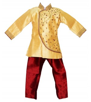 Jaideep Kids Boys Gold Coloured Partywear Full Sleeve Sherwani