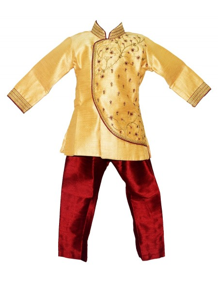 Jaideep Kids Boys Gold Coloured Partywear Full Sleeve Sherwani