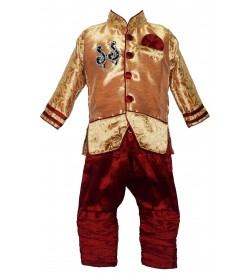 Long Life Fashion Kids Boys Gold & Maroon Coloured Clothing Set