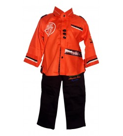 JM FASHION Kids Boys Orange  Coloured Full Sleeve Shirt With Brown Trousers