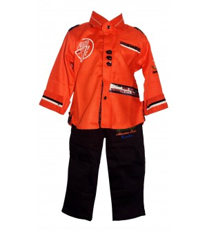 JM FASHION Kids Boys Orange  Coloured Full Sleeve Shirt With Brown Trousers