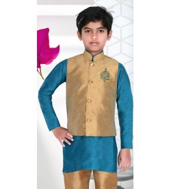 MOTTO Kids Boy's Green Coloured Full Sleeve Sherwani Modi Style - 3051