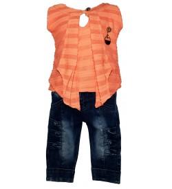 Jolly Dresses Orange,Blue Colour Kids Dresses For Girl's