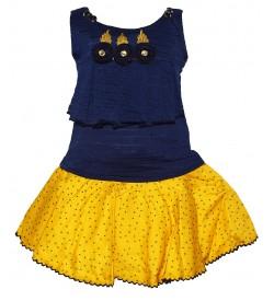 Jolly Dresses Blue,Mustard Colour Kids Dresses For Girl's