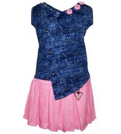 Jolly Dresses Blue,Pink Kids Midi Dresses For Girl's