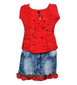 Jolly Dresses Red,Blue Colour Kids Dresses For Girl's