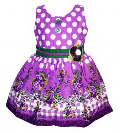 Gulnar Kids Girl's Violet Coloured Cotton Frock Dresses - 2590