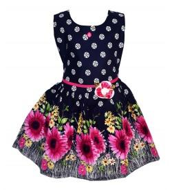 Gulnar Kids Girl's Blue Coloured Cotton Frock Dresses - 2596