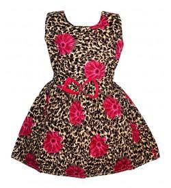 Gulnar Kids Girl's Multi Coloured Cotton Frock Dresses - 2599