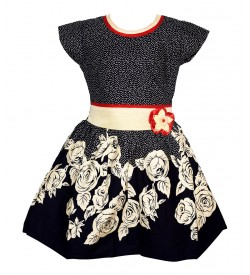 Gulnar Kids Girl's Black Coloured Cotton Frock Dresses - 2602
