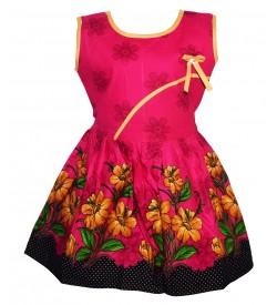 Gulnar Kids Girl's D.Pink Coloured Cotton Frock Dresses - 2605