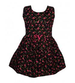Gulnar Kids Girl's Black Coloured Cotton Frock Dresses - 2608