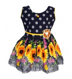Gulnar Kids Girl's Blue Coloured Cotton Frock Dresses - 2611