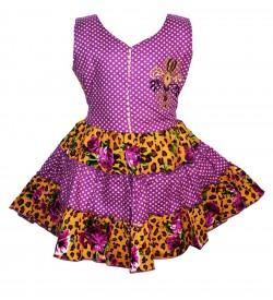 Gulnar Kids Girl's Violet Coloured Cotton Frock Dresses - 2596