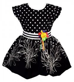Gulnar Kids Girl's Black Coloured Cotton Frock Dresses - 2617