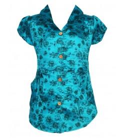Apex Multi Coloured Flower Design Cotton Top For Kids Girl's - 2641