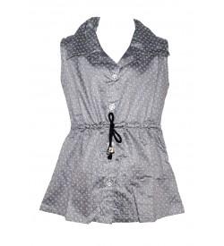Apex Gray Coloured Flower Design Top For Kids Girl's - 2653