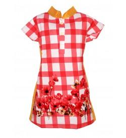 Apex Multi Coloured Flower Design Checked Top For Kids Girl's - 2662
