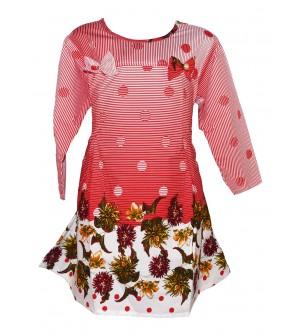 Apex Multi Coloured Flower Design Top For Kids Girl's - 2669