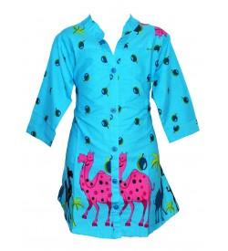 Apex Blue Coloured Camel Design Tops For Kids Girl's - 2673