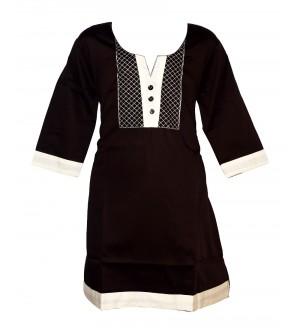 Apex Brown Coloured Plain Design Top For Kids Girl's - 2677