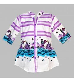 Apex White Coloured Girl Design Top For Kids Girl's - 2680