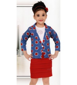 Yello Berry Multi Coloured Western Dresses For Kids Girls