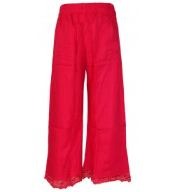 Franco Girls Pink Colour Plain Palazzos