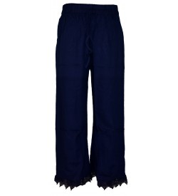 Franco Girls Navy Blue Colour Plain Palazzos