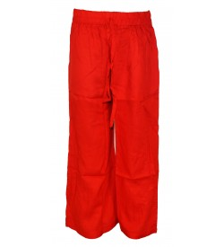 Franco Girls Red Colour Plain Palazzos