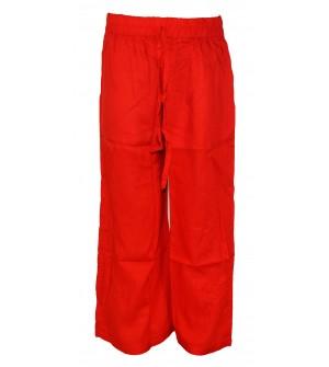 Franco Girls Red Colour Plain Palazzos